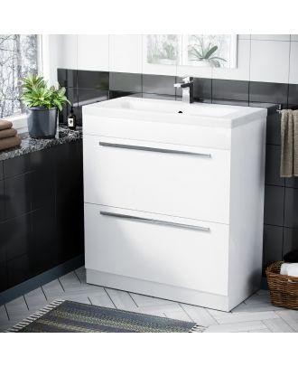 Pileh 800mm White Basin 2 Drawer Vanity Cabinet