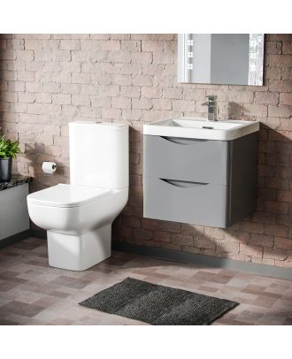 Merton 500mm Wall Hung Vanity Basin Unit & Bleu Close Coupled Toilet Light Grey