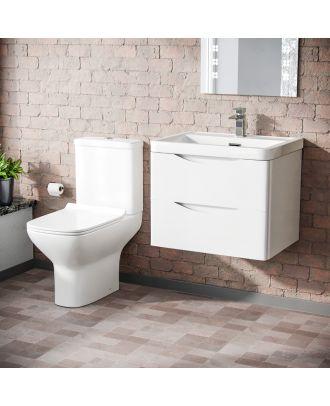 Merton 500mm Wall Hung Vanity Basin Unit & Cyan Close Coupled Toilet White