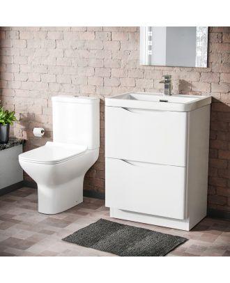 Merton 600mm Floorstanding Vanity Unit & Rimless Close Coupled Toilet White