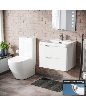 Merton 600mm Wall Hung Vanity White Gloss And Curved Close Coupled Toilet