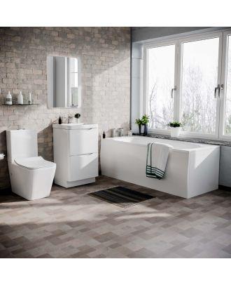 Merton 1700mm Bath, 500mm Vanity Basin Unit & Modern Rimless Toilet White