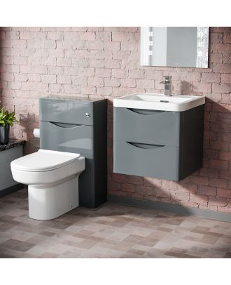 Merton 500mm Wall Hung Vanity Basin Unit, WC Unit & Chem Back to Wall Toilet Grey