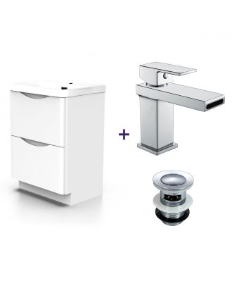 Merton White Basin Vanity Unit and Tap Set with Free Waste