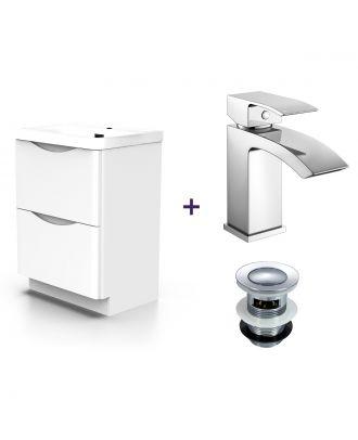 Lyndon Basin Vanity Unit and Waterfall Mono Mixer Tap and Waste Set