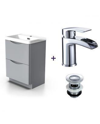 Merton Light Grey Basin Vanity Unit Tap with Waste Set