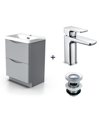 Merton Light Grey Vanity Cabinet and Basin Mixer Tap with Waste Set