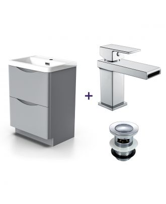 Merton Light Grey Vanity Unit with Basin Tap & Waste Set