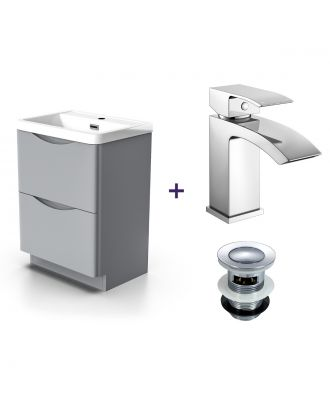 Merton Light Grey Vanity Unit with Basin and Waterfall Mono Mixer Tap and Waste Set