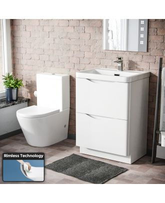Merton Modern 600 mm White Basin Sink Vanity and Rimless Close Coupled Toilet