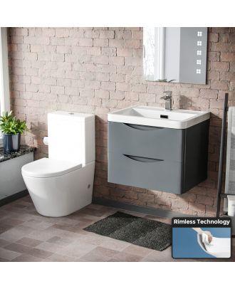 Merton Modern Grey Basin Vanity Wall Hung and Rimless Close Coupled Toilet