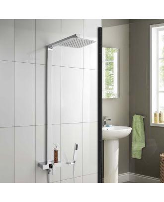 Riley Square Exposed Thermostatic Shower Mixer Set - Slim Shower Head, Shower Handset