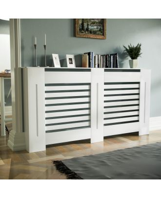 Kent Large 1520mm Traditional MDF Wood Radiator Cover Grill Cabinet Matte White