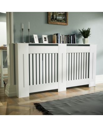 Kent 1520mm Large MDF Wood Radiator Cover Grill Cabinet Matte White