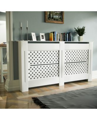Cintra 1520mm Large MDF Wood Radiator Cover Diamond Grill Matte White