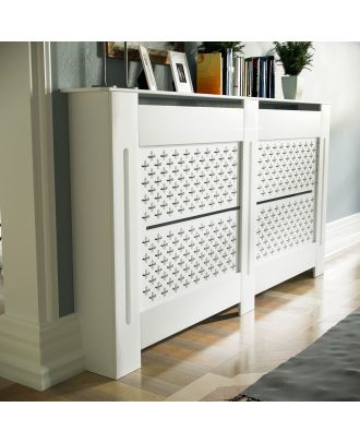 Cintra 1520mm Large MDF Wood Radiator Cover Cross Pattern Grill Matte White