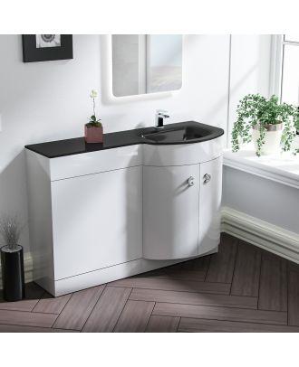 Braxter 1100mm RH White Bathroom Basin Combination Vanity Unit