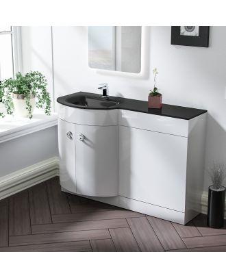 Braxter 1100mm LH White Bathroom Basin Combination Vanity Unit