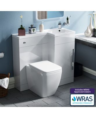 Velanal Right Hand Freestanding WC Vanity Unit and BTW Toilet White