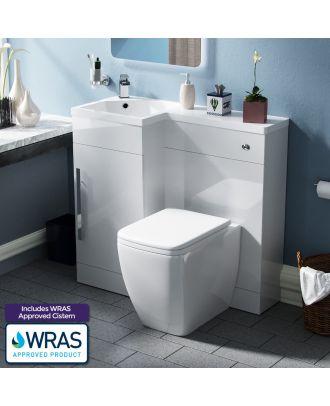 Velanal Left Hand Freestanding WC Vanity Unit and BTW Toilet White