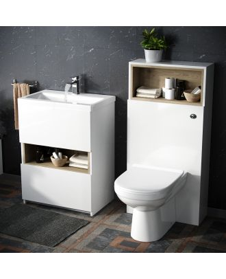 Modern White 600 mm Vanity Cabinet and WC Toilet