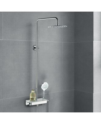 Bulby Thermostatic Glass Top Shower Mixer with Riser Rail Kit