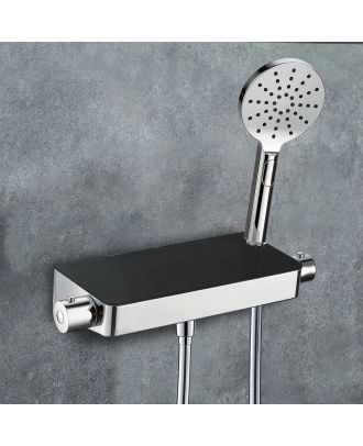 Belton Thermostatic Black Glass Top Shower Mixer