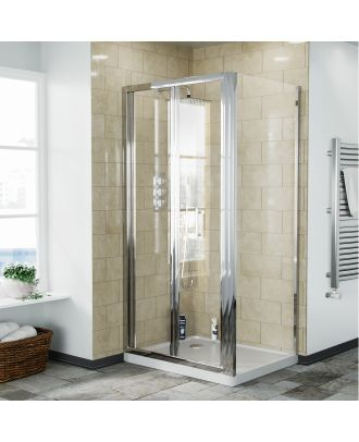 Fazel 900 x 900mm Frameless Bi-Fold Shower Door Enclosure, Tray & Waste