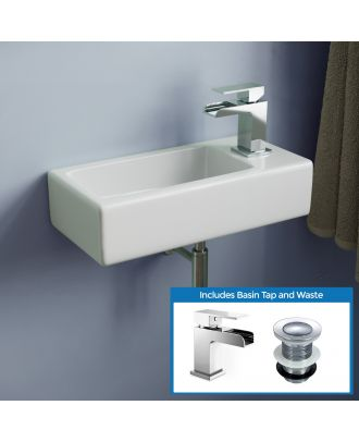 Morris 360mm Bathroom Wall Hung Cloakroom Right Basin Waterfall Mono Tap & Waste