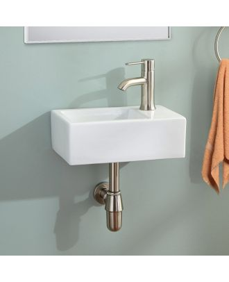 360mm Bathroom Wall Hung Cloakroom Ceramic Compact Basin Sink Right Hand & Fittings