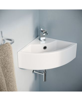 Katrine 450 x 325mm  Small Quarter Corner Wall Mounted Basin Sink with Mono Mixer Tap and Waste