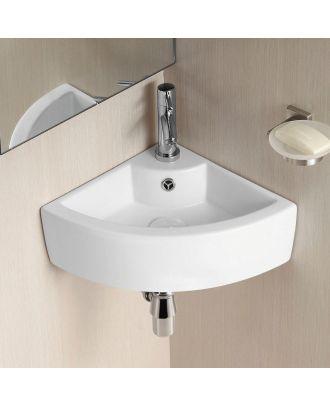 Katrine 330 x 330mm  Small Quarter Circle Corner Wall Hung Basin Sink