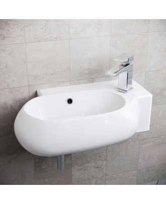 Katrine 380 x 185mm Rounded Cloakroom Wall Hung Basin Sink
