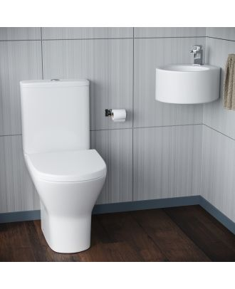 Forel Bathroom WC Closed Couple Toilet Wall Hung Cloakroom Basin Sink Suite