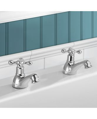 Victorian Traditional Hot & Cold Twin Bath Taps