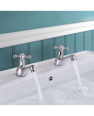 Victorian Hot & Cold Twin Basin Taps