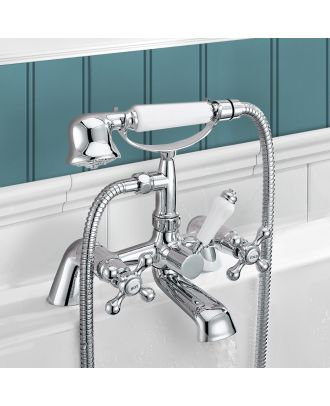 Victorian Traditional  Bath Shower Mixer Tap with Shower Kit