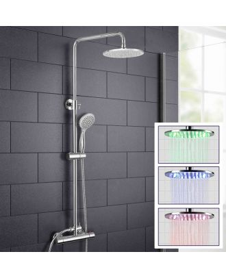 Swan LED Round Exposed Thermostatic Shower Mixer Set - Riser Rail Kit