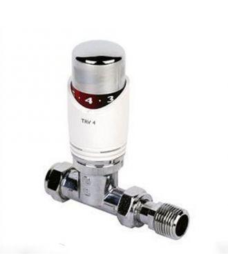 White Straight Thermostatic Radiator Valve 15mm
