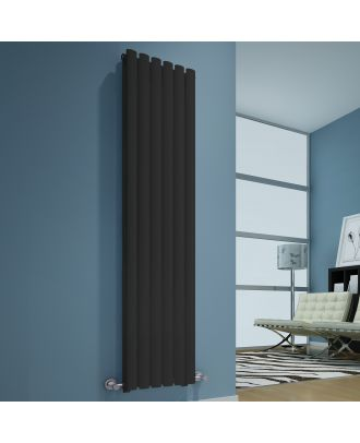 CONAN Anthracite 1800x360 Vertical Double Oval Designer Radiator Central Heating