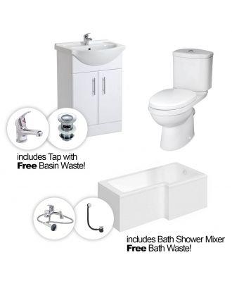 Marovo RH L-Bath, 550mm Vanity Basin Unit, Close Coupled Toilet, Mono and Shower Mixer Taps & Wastes White