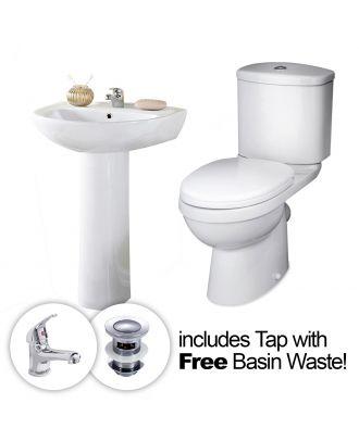 PORTLAND Complete 2 Piece Bathroom Suite with Tap & Waste