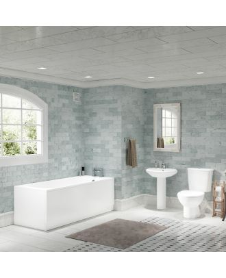 Porto 1700mm Bath, Pedestal Basin, Close Coupled Toilet, Traditional Bath Filler & Waste White