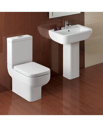 Derwent Ceramic Toilet Pan, Dual Flush Cistern & Pedestal Basin White