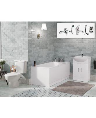Marovo 1700mm Bath, Vanity Basin Unit, Close Coupled, Mono and Shower Mixer Taps & Wastes White