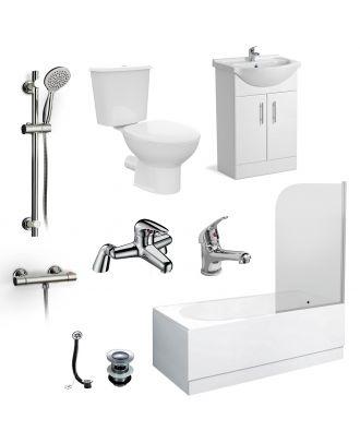 Marovo 1700mm Bath, Basin Vainty , Close Coupled Toilet, Shower Slider Raill Kit, Bath and Mono Mixer & Wastes White