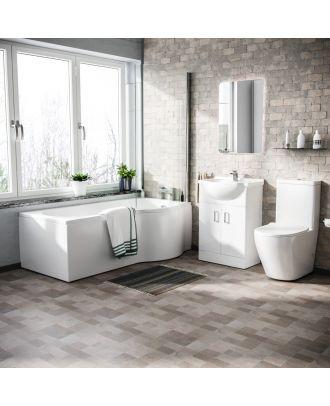 Marovo RH P-Bath, 550mm Vanity Basin Unit & Curved Close Coupled Toilet White