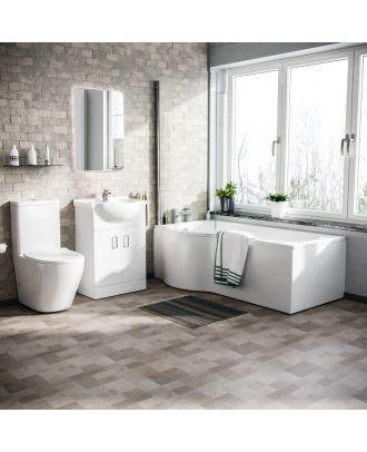Marovo LH P-Bath, Front Panel, 550mm Vanity Basin Unit & Belmont Close Coupled Toilet White
