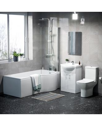 Marovo RH P-Bath, Front Panel, Bath Screen, Shower, 550mm Vanity Basin Unit, WC Unit, Cyan Close Coupled,  Bath Filler, Mono Mixer & Wastes  Toilet White