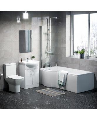 Marovo LH P-Bath, Front Panel, Bath Screen, Shower, 550mm Vanity Basin Unit, WC Unit, Cyan Close Coupled,  Bath Filler, Mono Mixer & Wastes  Toilet White